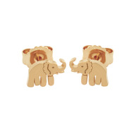 Rose Gold-Tone Sterling Silver Elephant Stud Earrings