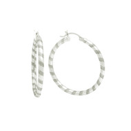 Sterling Silver Swirl Striped Tube Hoop Earrings