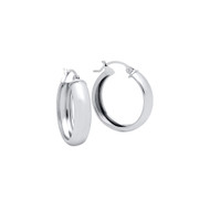 Rhodium Plated Sterling Silver Hoop Design Earrings