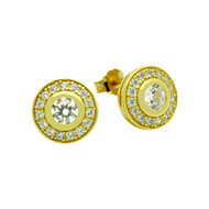 Elegant Clear Round Cubic Zirconia Stud Earrings Yellow Gold-Tone Plated Sterling Silver