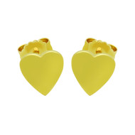 Yellow Gold-Tone Plated Sterling Silver Plain Heart Stud Earrings
