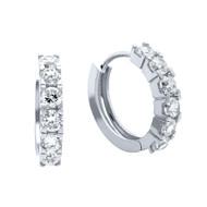 Half Way Eternity Cubic Zirconia Huggie Earrings Rhodium Plated Sterling Silver