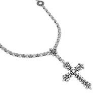 "Sterling Silver Fleur De Lis Cross 30"" Chain Designer Jewelry Necklace"
