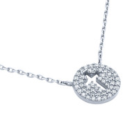 "Rhodium Plated Sterling Silver Cubic Zirconia Pave Cross Necklace 16""+2"""