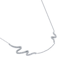 "Rhodium Plated Sterling Silver  Cubic Zirconia Wave Design Necklace 16""+2"""