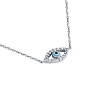 "Rhodium Plated Sterling Silver Cubic Zirconia Light Blue Eye Necklace 16""+1"""