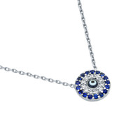 "Rhodium Plated Sterling Silver Simulated Sapphire & Clear Cubic Zirconia Pave Surrounding Dark Blue Eye Necklace 16""+1"""