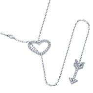 Rhodium Plated Sterling Silver Cubic Zirconia Heart And Arrow Necklace 22""