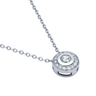 Rhodium Plated Sterling Silver Cubic Zirconia Elegant Necklace 18""