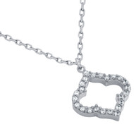 "Rhodium Plated Sterling Silver Cubic Zirconia Royal Clover Necklace 16""+2"""