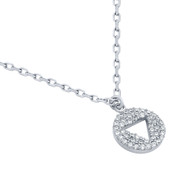 "Rhodium Plated Sterling Silver Cubic Zirconia Pave Cutout Traingle Necklace 16""+2"""