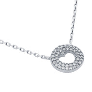 "Rhodium Plated Sterling Silver Cubic Zirconia pave Heart Necklace 16""+2"""