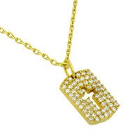 "Yellow Gold-Tone Plated Sterling Silver Cubic Zirconia pave Tag With Cutout Cross Necklace 16""+2"""