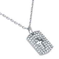 "Rhodium Plated Sterling Silver Cubic Zirconia pave Tag With Cutout Cross Necklace 16""+2"""