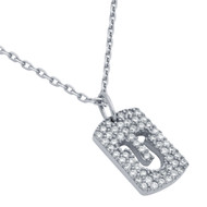 "Rhodium Plated Sterling Silver Cubic Zirconia pave Tag With Cutout Horseshoe Necklace 16""+2"""