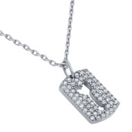 "Rhodium Plated Sterling Silver Cubic Zirconia pave Tag With Cutout Arrow Necklace 16""+2"""