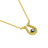 "Yellow Gold-Tone Plated Sterling Silver Cubic Zirconia Horseshoe Woth Dark Blue Eye Necklace 16""+1"""