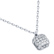 "Rhodium Plated Sterling Silver Cubic Zirconia Pave Cushion Necklace 16""+2"""