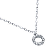 "Rhodium Plated Sterling Silver Cubic Zirconia Circle Necklace 16""+2"""