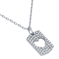 "Rhodium Plated Sterling Silver Cubic Zirconia Pave Cutout Heart Necklace 16""+2"""