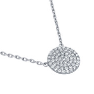 "Rhodium Plated Sterling Silver Cubic Zirconia Pave Round Surface Necklace 16""+2"""