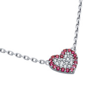"Rhodium Plated Sterling Silver Pink And Clear Cubic Zirconia Pave Heart Necklace 16""+2"""