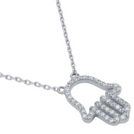 "Rhodium Plated Sterling Silver Cubic Zirconia Hamsa Hand Necklace 16""+2"""