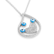 "Rhodium Plated Sterling Silver Cubic Zirconia Pave Heart Design Three Eyes Necklace 16""+2"""