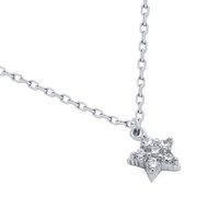 "Rhodium Plated Sterling Silver Cubic Zirconia Pave Star Necklace 16""+2"""