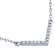 "Rhodium Plated Sterling Silver Cubic Zirconia V Necklace 16""+2"""
