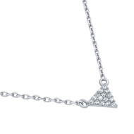 "Rhodium Plated Sterling Silver Cubic Zirconia Pave Traingle Necklace 16""+2"""