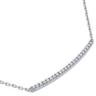 "Rhodium Plated Sterling Silver Cubic Zirconia Sideway Bar Necklace 16""+2"""