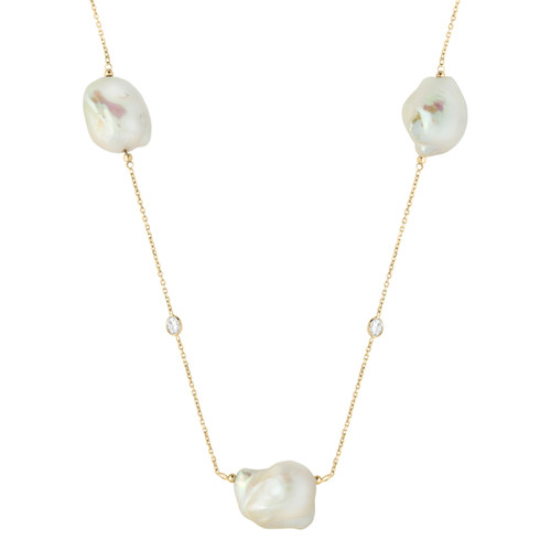 """42"""" Designer Necklace Yellow Gold-Tone Plated Sterling Silver With Freshwater Simulated Pearl & Cubic Zirconia Stone Jewelry"""