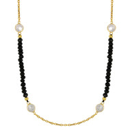 """Yellow Gold-Tone Plated Sterling Silver Simulated Onyx Beads With  Cubic Zirconia Design Necklace 42""""+2"""""""