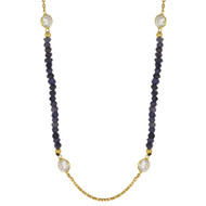 """42""""+2"""" Yellow Gold-Tone Plated Sterling Silver Designer Necklace With Blue Simulated Quartz Beads & Cubic Zirconia"""
