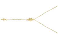 """Yellow Gold-Tone Plated  Sterling Silver Simulated Pearl Beads Rosary Necklace 18""""+2"""""""