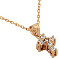 """Rose Gold-Tone Plated Sterling Silver Prong Set Cubic Zirconia Ice Cross Necklace 16""""+1"""""""