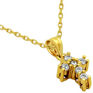 """Yellow Gold-Tone Plated Sterling Silver Prong Set Cubic Zirconia Ice Cross Necklace 16""""+1"""""""