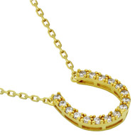 """Yellow Gold-Tone Plated Sterling Silver Cubic Zirconia Horseshoe Necklace 16""""+2"""""""