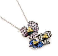 """Rhodium Plated Sterling Silver Simulated Sapphire, Pink And Clear Cubic Zirconia Triple Swirl Ferroni Necklace 18"""""""
