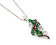 Rhodium Plated Sterling Silver Green And Red Cubic Zirconia Designer Necklace