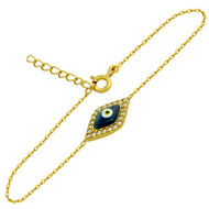 "Yellow Gold-Tone Plated Sterling Silver Cubic Zirconia Marquise Dark Blue Eye Bracelet 6""+1"""