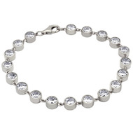 Rhodium Plated Sterling Silver Bezel Set Cubic Zirconia Tennis Bracelet 7""