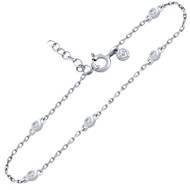 "Rhodium Plated Sterling Silver Bezel Set Cubic Zirconia Bracelet 6.5""+1"""