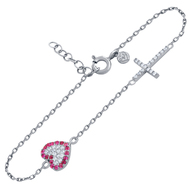 "Rhodium Plated Sterling Silver Pink & Clear Cubic Zirconia Pave Heart And Cross Bracelet 6.5""+1"""