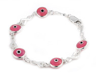 Sterling Silver Double Sided Pink Eye Glass Bracelet 7""