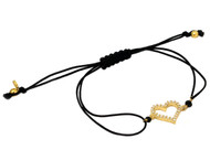 Yellow Gold-Tone Plated Sterling Silver Cubic Zirconia Heart Black Nylon Adjustable Bracelet