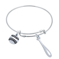 "Sterling Silver Baseball Bat & Baseball Charms Wire Expandable Bangle Brecelet 7"" To 8"""