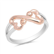 Heart Infinity Rose Gold- Tone Plated Ring Sterling Silver 925