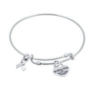 "Sterling Silver Awareness Ribbon & Be-You-Tiful Charms Wire Expandable Bangle Brecelet 7"" To 8"""